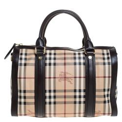 Burberry Brown/Beige Haymarket Check Coated Canvas Boston Bag