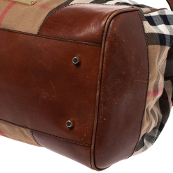Burberry Brown House Check Canvas and Leather Bridle Tote