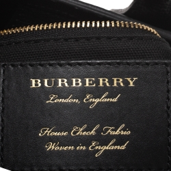 Burberry Black Leather and House Check Fabric Baby Banner Tote