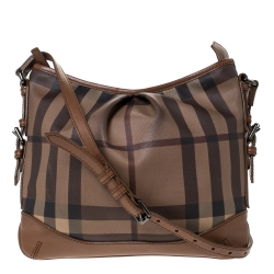 Burberry Brown Smoke House Check PVC and Leather Crossbody Bag