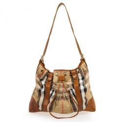 Burberry Tan and House Check Drawstring Shoulder Bag