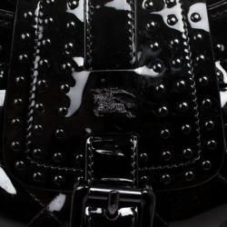 Burberry Black Patent Studded 'Brooke' Hobo