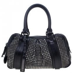 Burberry Black Leather Prorsum Studded Knight Satchel Bag