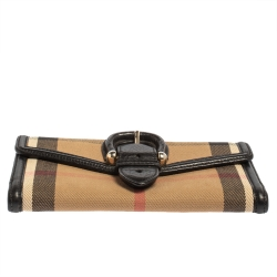 Burberry Beige/Black House Check Canvas and Leather Continental Wallet