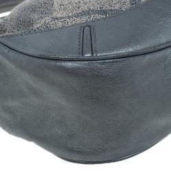 Burberry Grey Canvas Medium Shimmer Check Fairby Hobo Bag