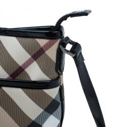 Burberry Black Coated Canvas Nova Check Crossbody