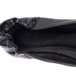 Burberry Smoked Novacheck Patent Cap Toe Ballet Flats Size 39