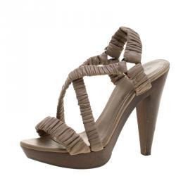 178b42f05467 Burberry Beige Ruched Leather Cross Strap Platform Sandals Size 40.5
