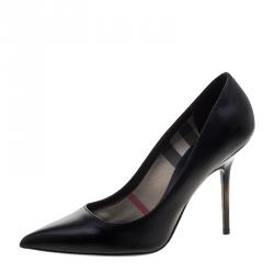 Burberry Black Leather Deighton Pointed Toe Pumps Size 38