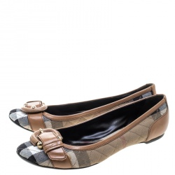 Burberry Beige Quilted Novacheck Canvas and Leather Buckle Detail Ballet Flats Size 39