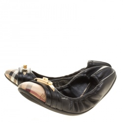 Burberry Black Leather and Nova Check PVC Drayton Twistlock Ballet Flats Size 36