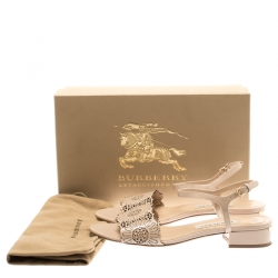 Burberry Beige Laser Cut Patent Leather Adenvale Ankle Strap sandals Size 38