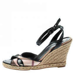 6e9be6663c5 Burberry Black Patent Leather And Novacheck Canvas Espadrille Wedge Sandals  Size 41
