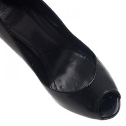 Burberry Black Patent Studded Ankle Strap Pumps Size 39