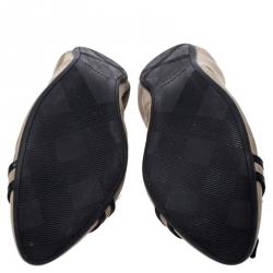 Burberry Khaki Canvas Buckle Detail Scrunch Ballet Flats Size 39