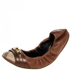 Burberry Tan Nova Check PVC and Leather Drayton Twistlock Scrunch Ballerina Flats Size 35
