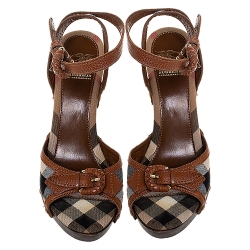 Burberry Brown Nova Check Canvas and Leather Ankle Strap Clog Sandals Size 37