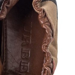Burberry Brown House Check Canvas and Leather Falcony Scrunch Ballet Flats Size 39