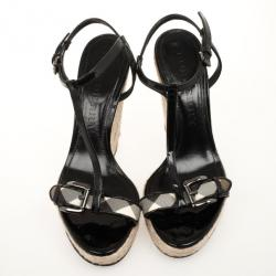 Burberry Black Patent Check Espadrilles Wedges Sandals Size 41