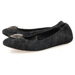 Burberry Grainy Denim Ballet Flats Size 39.5