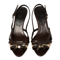Burberry Brown Nova Check Canvas And Leather Slingback Sandals Size 36