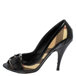 Burberry Black/Beige Nova Check Canvas and Patent Leather Buckle Peep Toe Pumps Size 36