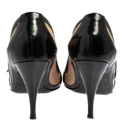 Burberry Black/Beige Nova Check Canvas and Patent Leather Buckle Peep Toe Pumps Size 36