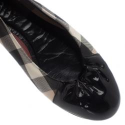 Burberry Black Patent Cap Toe House Check Ballet Flats Size 39