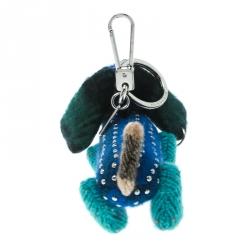 Burberry Tilly the Sausage Dog Teal Blue Cashmere Embellished Bag Charm / Keychain