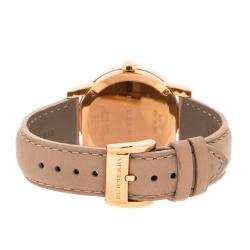 ساعة يد نسائية بربري نود BU9109 ستانلس ستيل مطلي ذهب وردي بني فاتح 34 مم