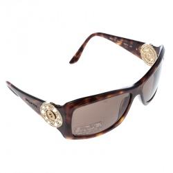 eccd1d2682cf Bvlgari Brown Havana 8007-B Embellished Crystal Rectangular Sunglasses