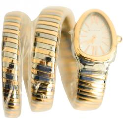 Bvlgari White 18K Rose Gold and Stainless Steel Serpenti Tubogas Double Spiral Women's Watch 35MM