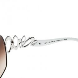 Bvlgari Silver/Brown Gradient 6028-B Oversized Sunglasses