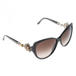 b3482b7fd7b Bvlgari Brown Brown Gradient 8097-B Limited Edition Crystal Embellished  Floral Cat Eye Sunglasses
