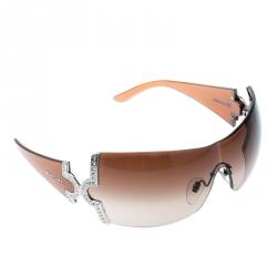 3dbfbc2c31 Bvlgari Brown Gradient 651-B Crystal Embellished Shield Sunglasses