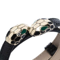 Bvlgari Serpenti Forever Black Exotic Skin Gold Tone Double Coiled Bracelet