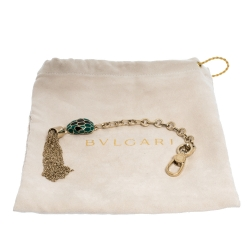 Bvlgari Serpenti Forever Green/Black Enamel Gold Plated Tassel Bag Charm
