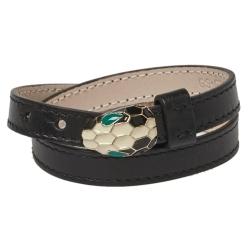 Bvlgari Black Calfskin Serpenti Forever Double Coil Bracelet