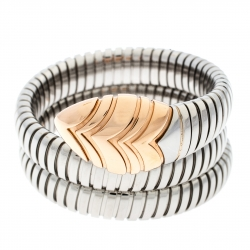 d52e2cd407d Bvlgari Serpenti Tubogas Stainless Steel 18k Rose Gold Double Spiral  Bracelet SM