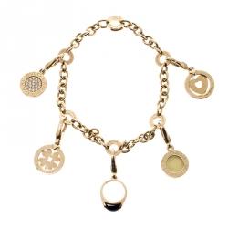 Bvlgari Onyx Diamond 18k Yellow Gold 5 Charm Bracelet