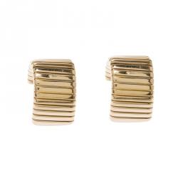 Bvlgari Tubogas 18k Yellow Gold Clip-on J Hoop Earrings