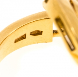 Bvlgari Cerchi Astrale 18K Yellow Gold Shield Band Ring Size 55