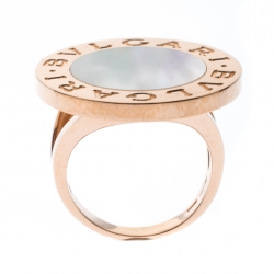 Bvlgari Mother of Pearl Inlay 18k Rose Gold Circular Ring Size 56