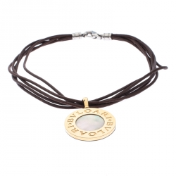 Bvlgari Reversible 18K Yellow Gold with MOP & Steel with Onyx Pendant Leather Cord Necklace