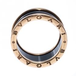 Bvlgari B.Zero1 Black Ceramic 18K Rose Gold 4-Band Ring Size 60
