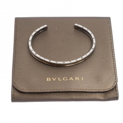 Bvlgari B.Zero1 Stainless Steel 18k Rose Gold Narrow Open Cuff Bracelet