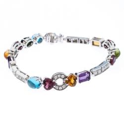 Bvlgari Allegra Diamond Multi-color Gemstone 18k White Gold Bracelet