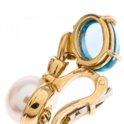 Bvlgari Allegra Cultured Pearl Diamond Blue Topaz 18k Yellow Gold Clip-on Drop Earrings