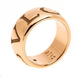 Bvlgari Monologo Diamond 18K Rose Gold Band Ring Size 49