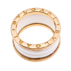 Bvlgari B.Zero1 4 Band White Ceramic 18k Rose Gold Ring Size 56